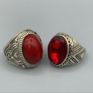 Pair of Red & Silver Men's Rings Size 9